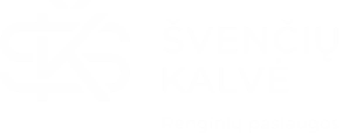 ŠVENČIŲ KALVĖ logotipas BALTAS